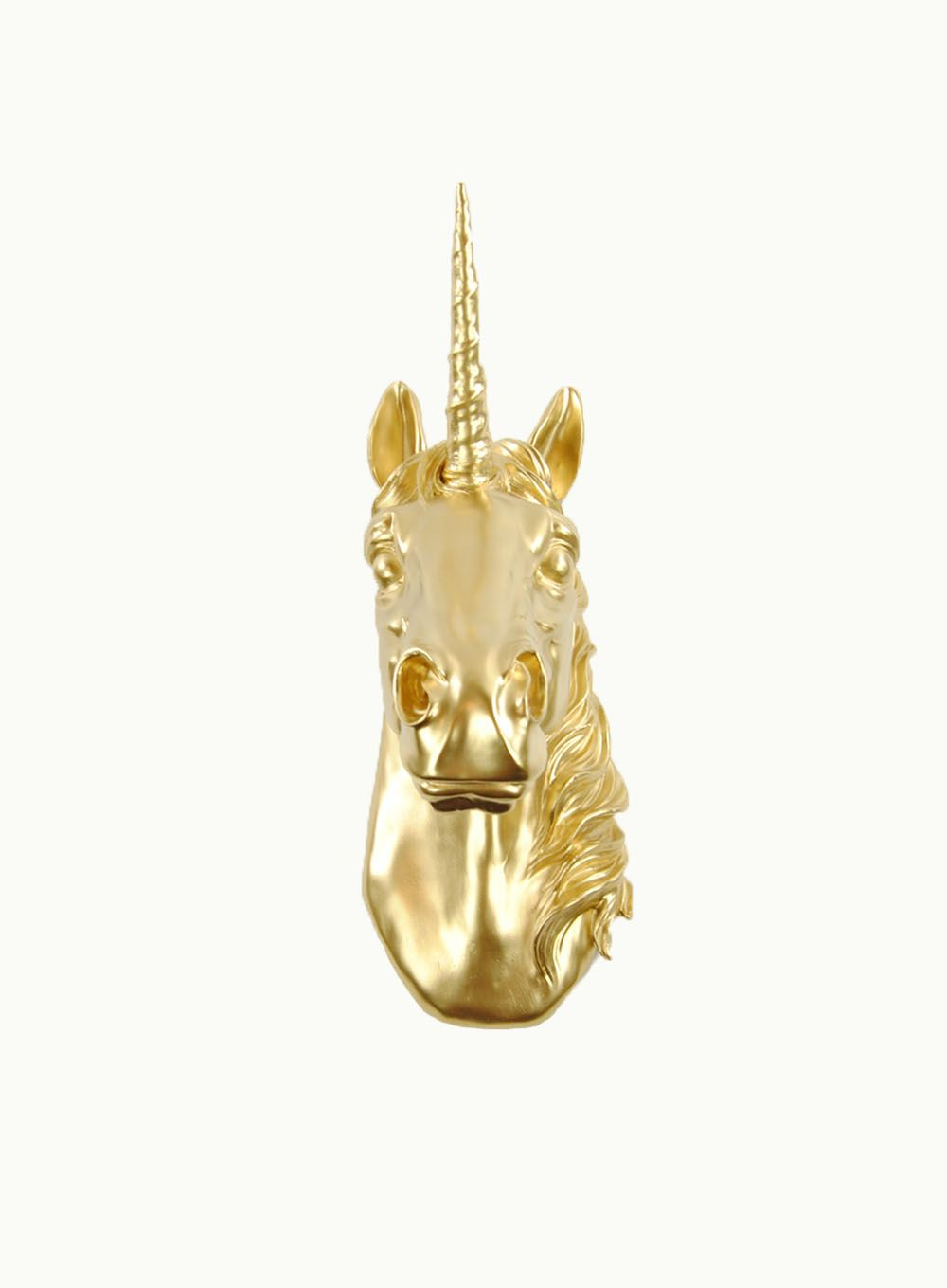 The Bayer in Gold | Unicorn Head | Faux Taxidermy | Gold Unicorn ...
