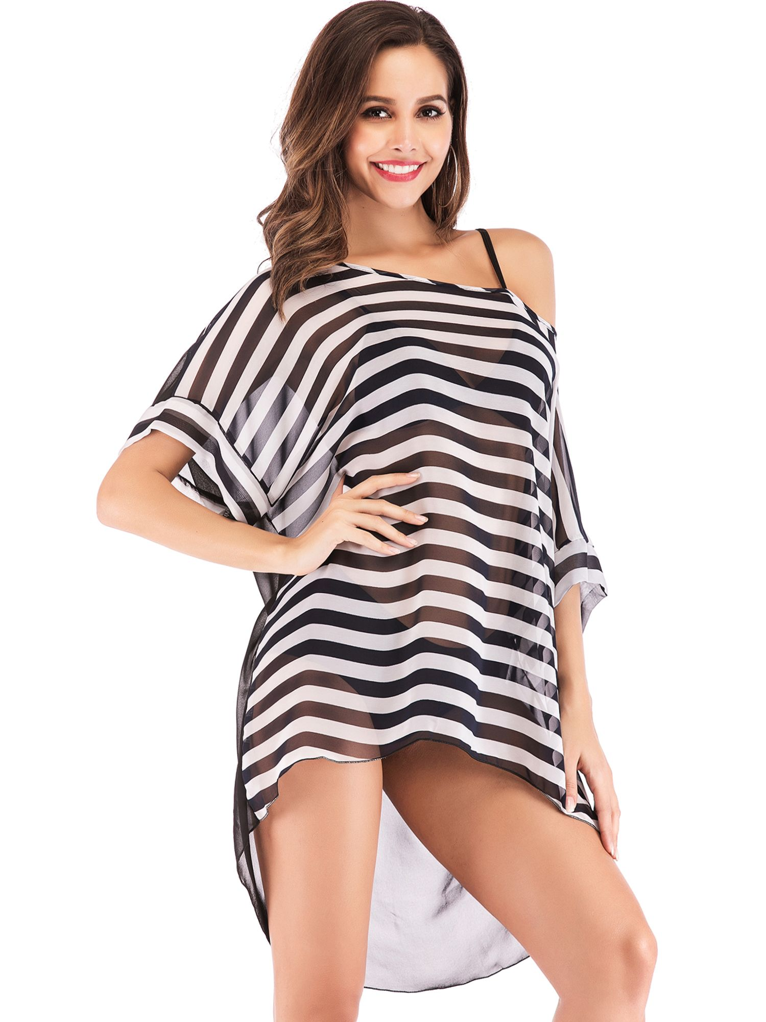 1bcdac638b LELINTA Women?¡¥s Plus Size Bikini Cover Up Warp Stripe Chiffon ...