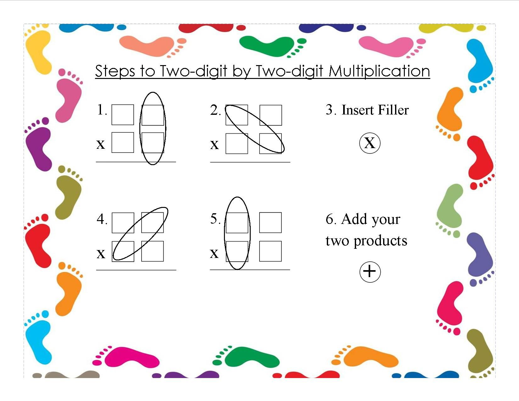Steps To Two Digit By Two Digit Multiplication Free