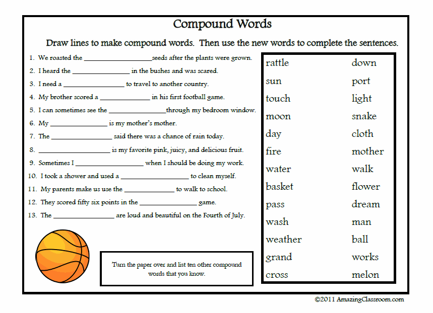 Free Printable Vocabulary Worksheets | Compound Words ...