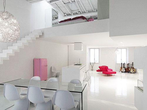 Modern Loft Interior Design Adoring The White Color Theme