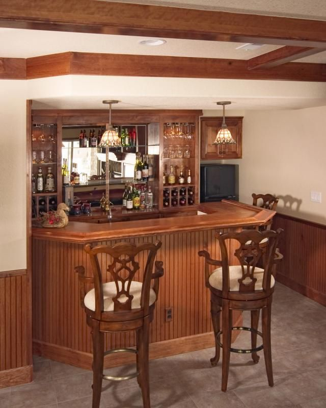 English Pub Home Bar Design: Basement Finishing Pictures