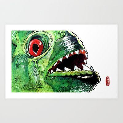 Piraña Art Print by Jordan Lewerissa - $16.00