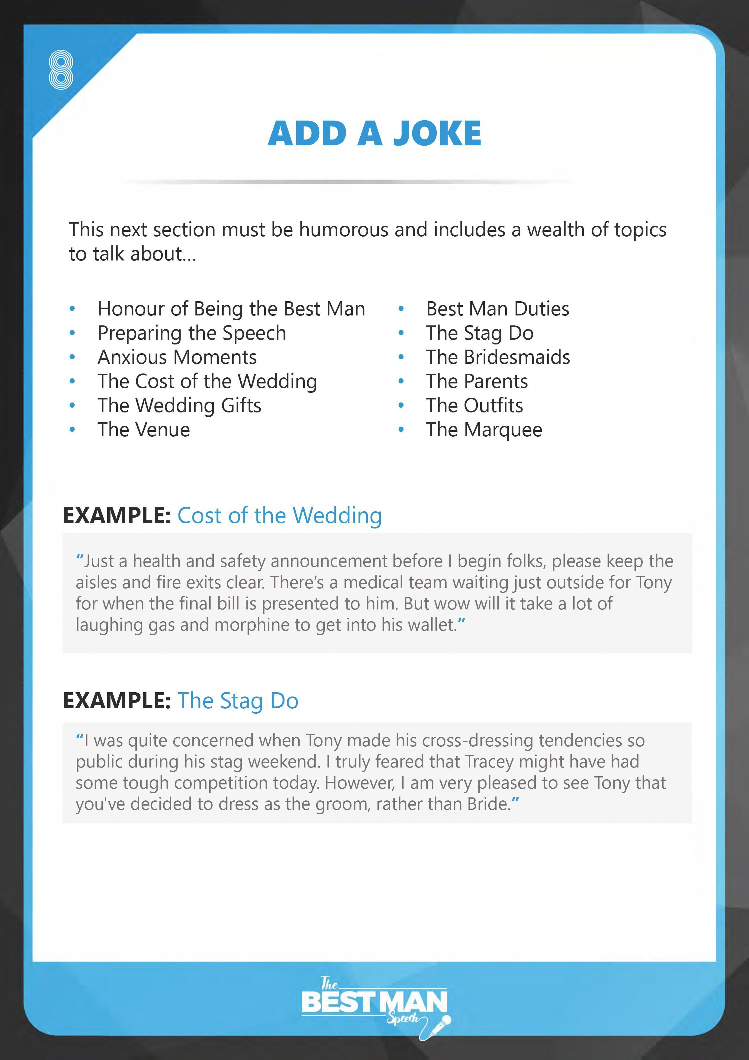 The Best Man Speech Add A Joke Funktion Events Best Man Speech Template Best Man Speech Best Man Wedding Speeches