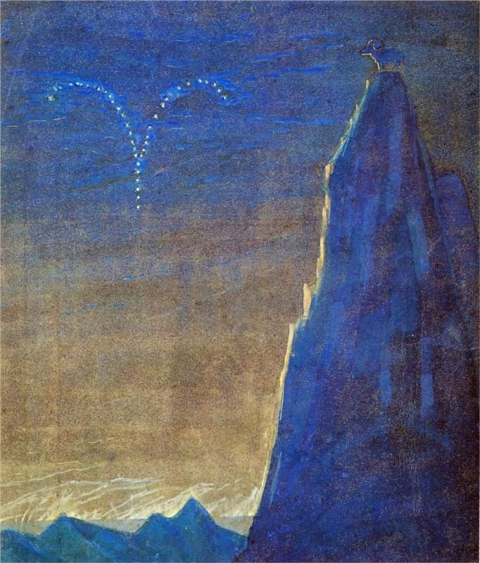 Mikalojus Ciurlionis - Zodiac Cycle - Aries (1907)