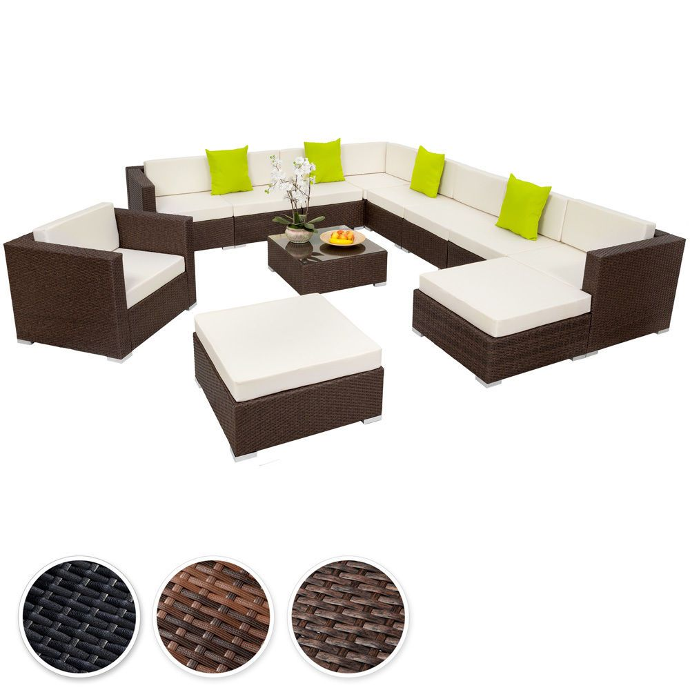 details zu xxl poly rattan alu sitzgruppe lounge rattanm bel gartenm bel sofa set pool. Black Bedroom Furniture Sets. Home Design Ideas