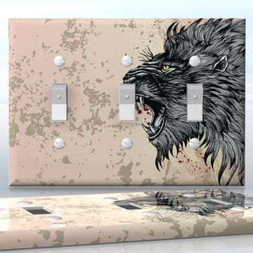 DIY Do It Yourself Home Decor - Easy to apply wall plate wraps | Blood Lion Black lion head with yellow eyes wallplate skin sticker for 3 Gang Toggle LightSwitch | On SALE now only $5.95