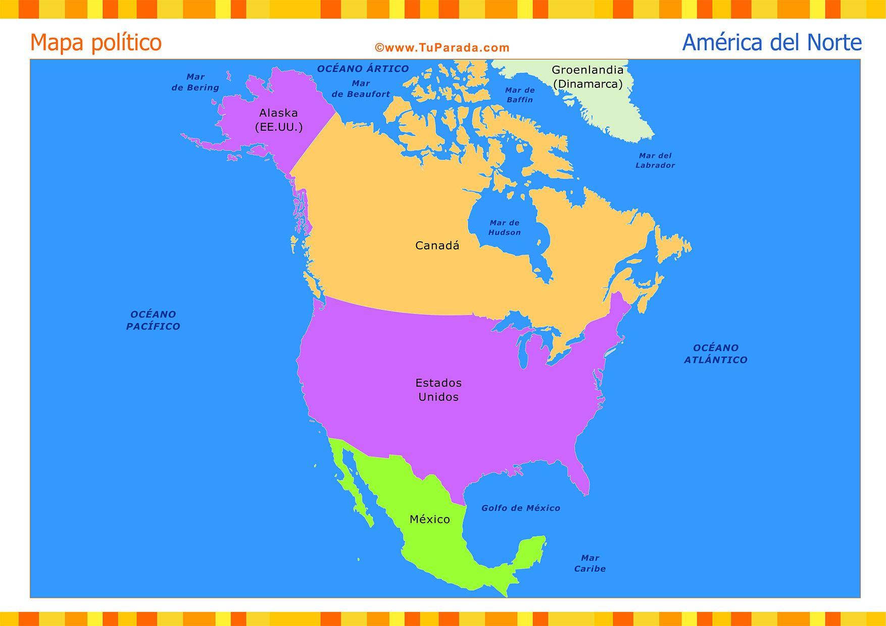 Resultado de imagen para mapa de america del norte para imprimir con ...