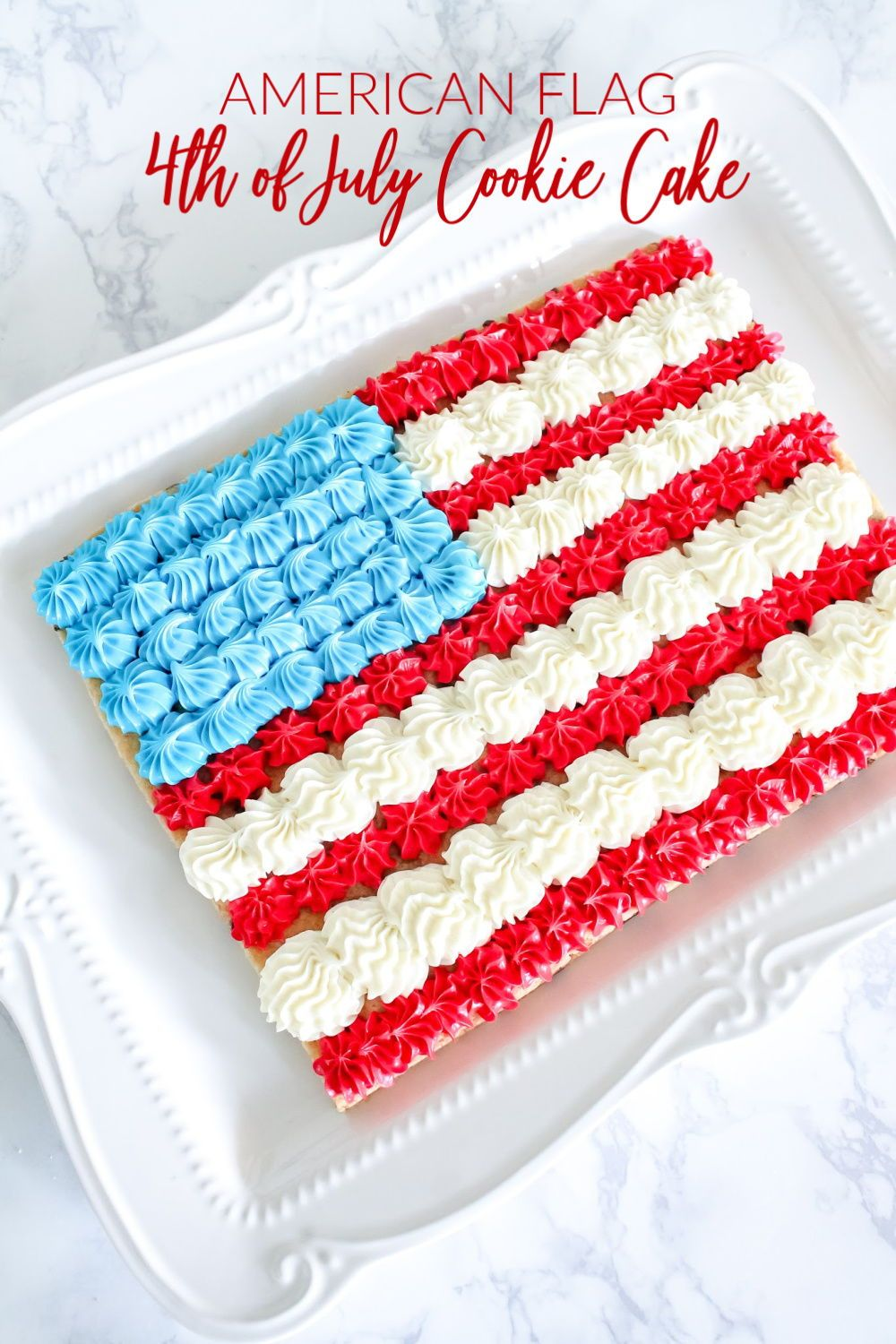 American Flag 4th Of July Cookie Cake Easy And Homemade Patriotic