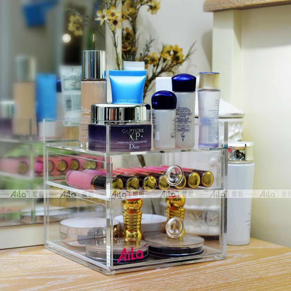 Aila Acrylic Makeup Organizer 3 Layer Beauty Brush