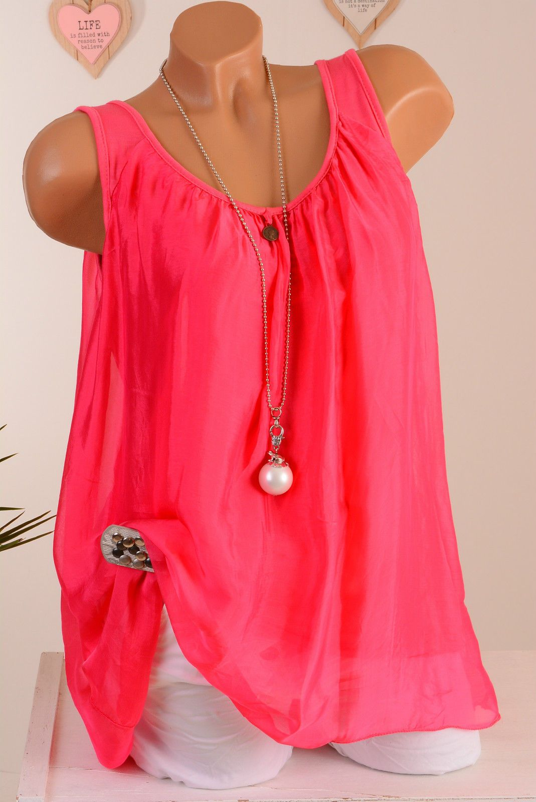13a62d4914db08 38 40 42 TOP BLUSE TUNIKA 2lg ITALY Pink Koralle Seide Viskose Sommer NEU    eBay
