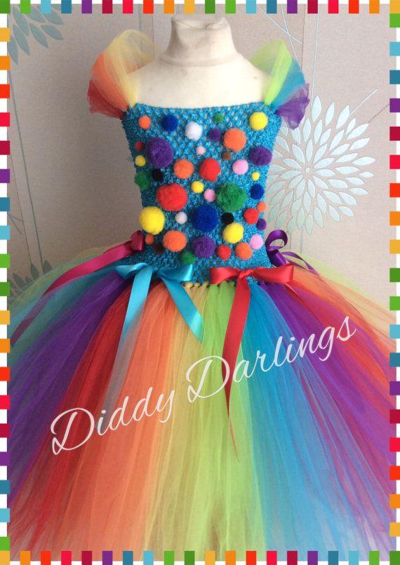 Clown Tutu Dress Clown Rainbow Inspired Handmade Tutu Dress
