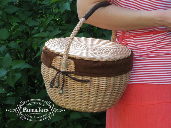 e6bf10d5cfa9 Jane Birkin style basket Round wicker bag with lid and handle gift for  women Woman s accessory braid