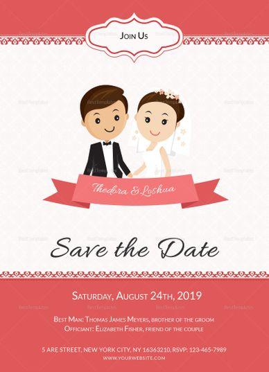 Unique Wedding Invitation Card Template Unique Wedding Invitations Cartoon Wedding Invitations Wedding Invitation Cards
