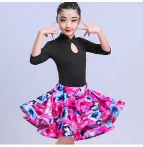 3d492ecbf Kids Latin dress for girls children floral red competition stage ...