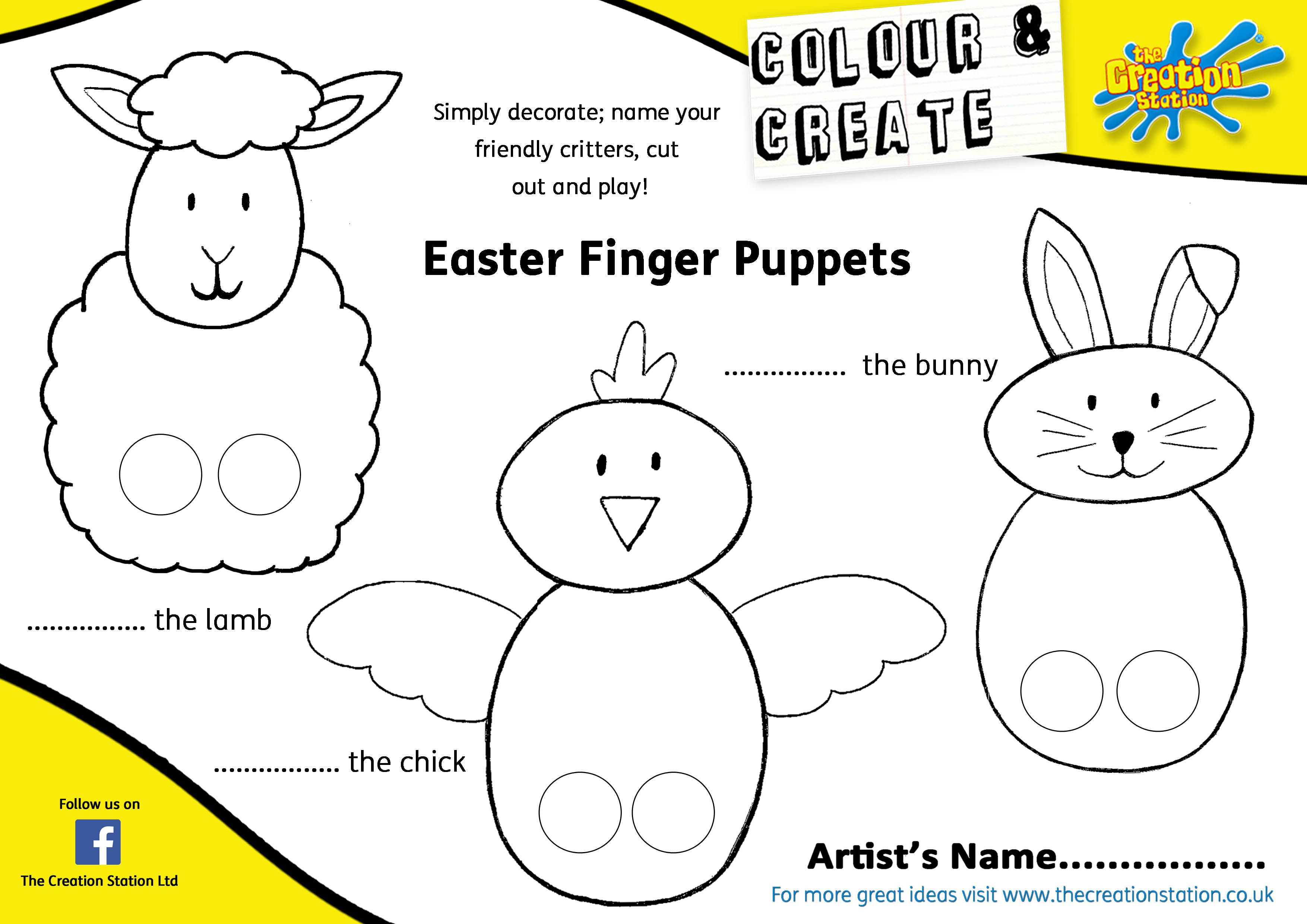 Family Finger Puppets Colouring Pages Page 3