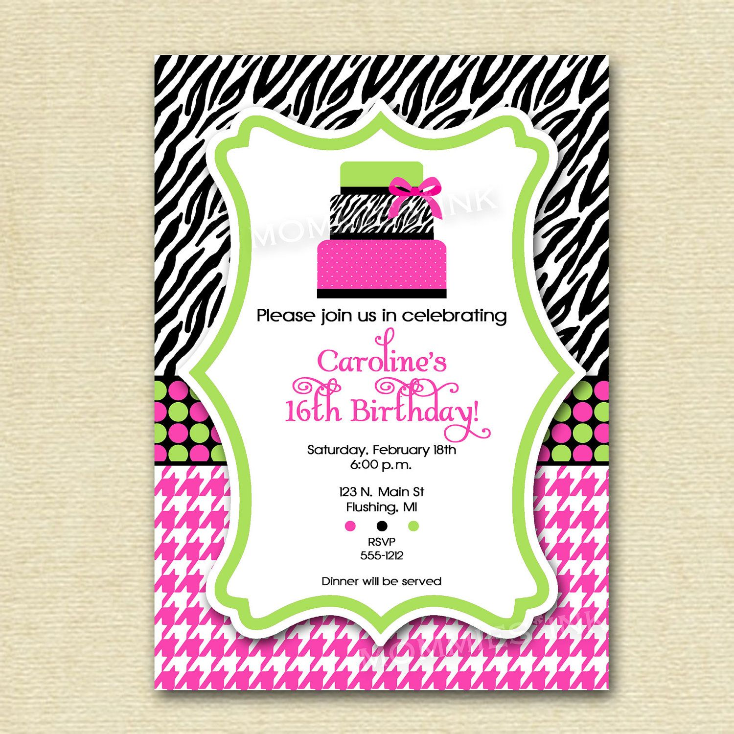 Hot Pink and Lime Green Zebra Print Cake Birthday Party Invitation