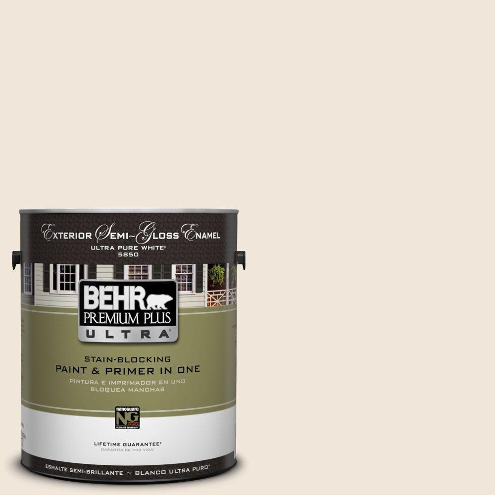 BEHR Premium Plus Ultra 1-Gal. #UL130-13 Ballet White Semi-Gloss Enamel Exterior Paint