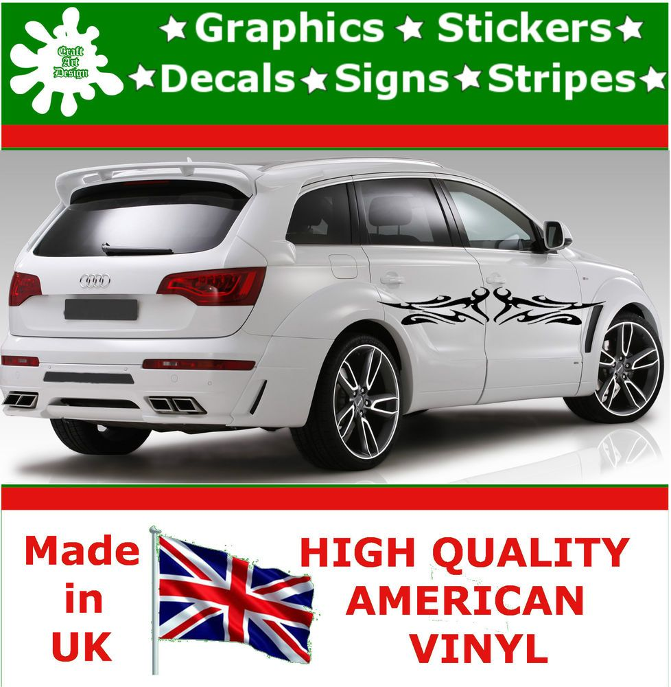 X Large Car Side Strips Flame Graphics X Decal Vinyl Stickers - Vinyl decals for cars uk
