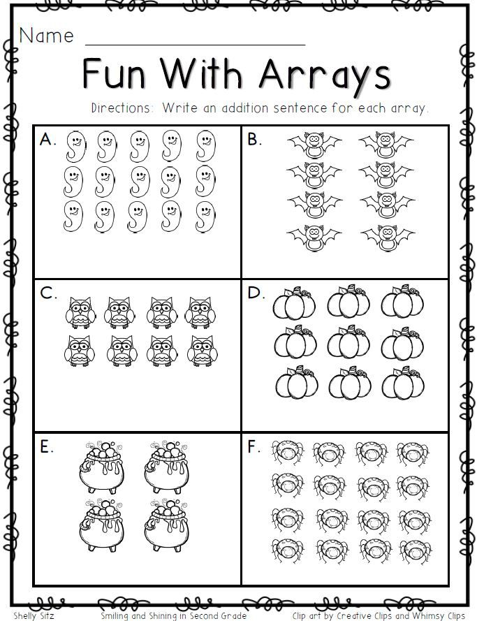 Free resource: Arrays Worksheet! Students look at an array and ...