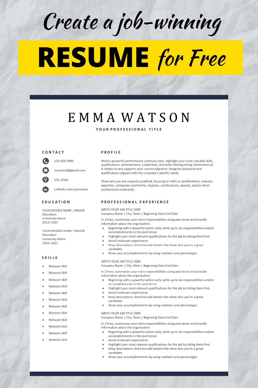 Simple Resume Template Free Download in 2020 Simple