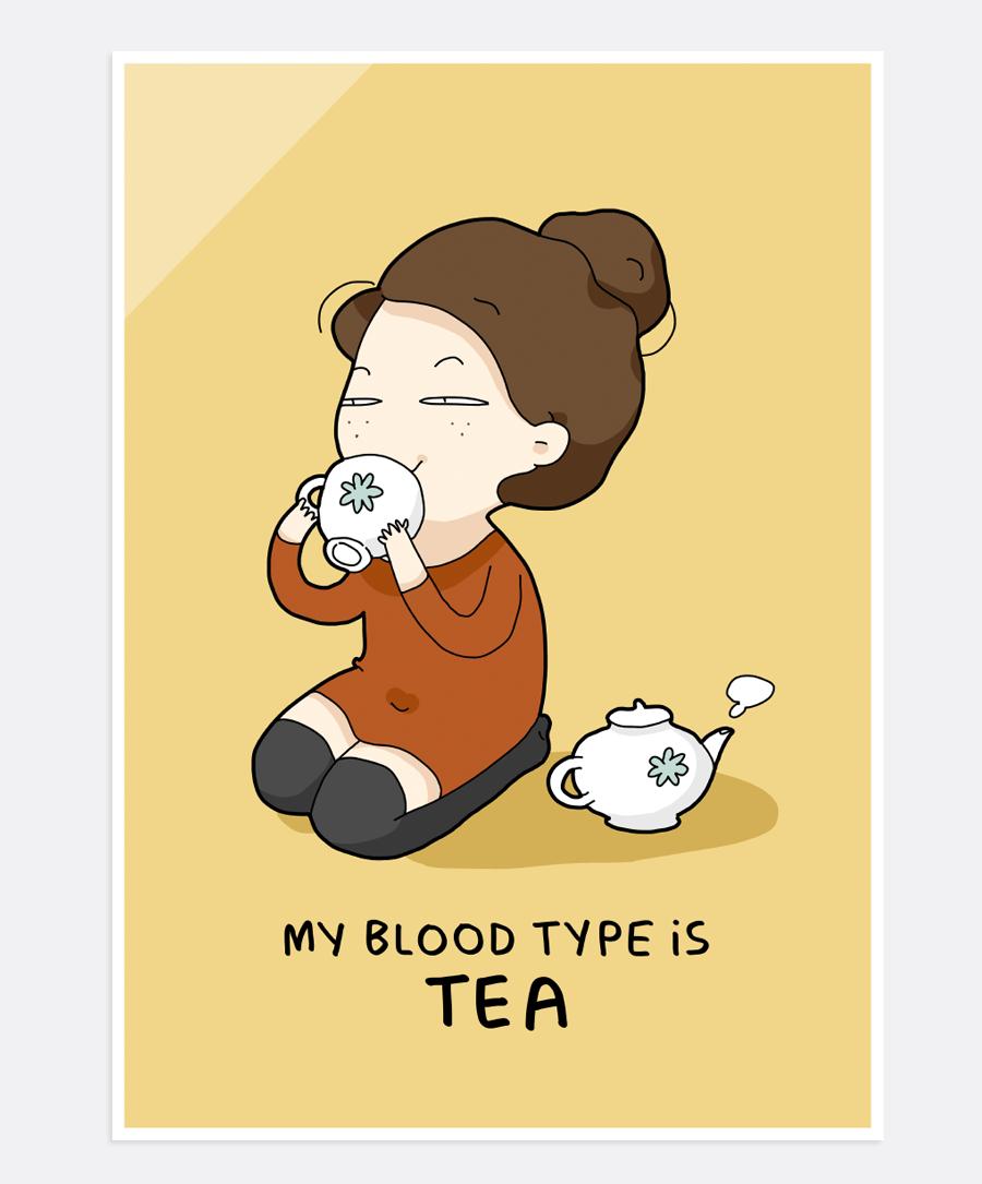 Blood Type Is Tea Print | Lingvistov - Online Store