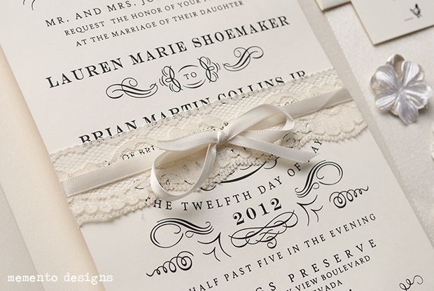 DIY vintage lace wedding invitations with ribbon. | Vintage Inspired ...
