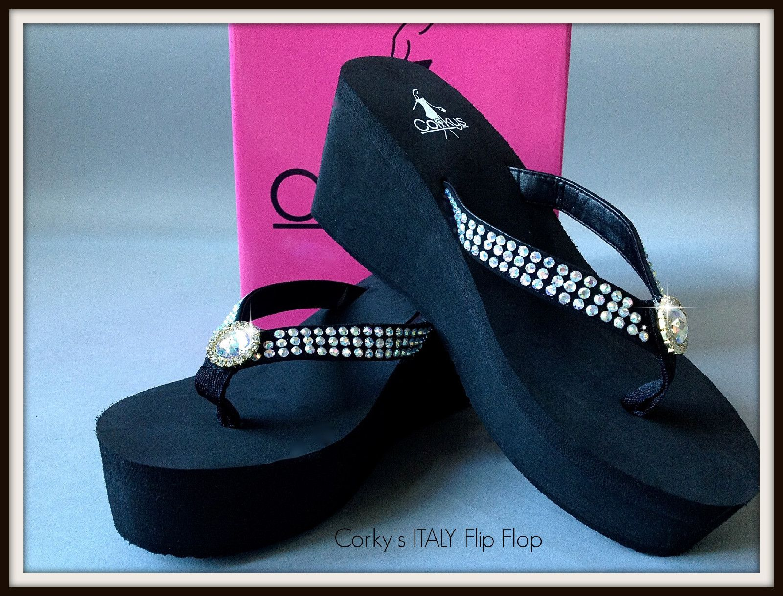 5f2c10a5e1a Corky s Bling Flip Flops Large Jewel Center Black Comfy Squishy Eva 3