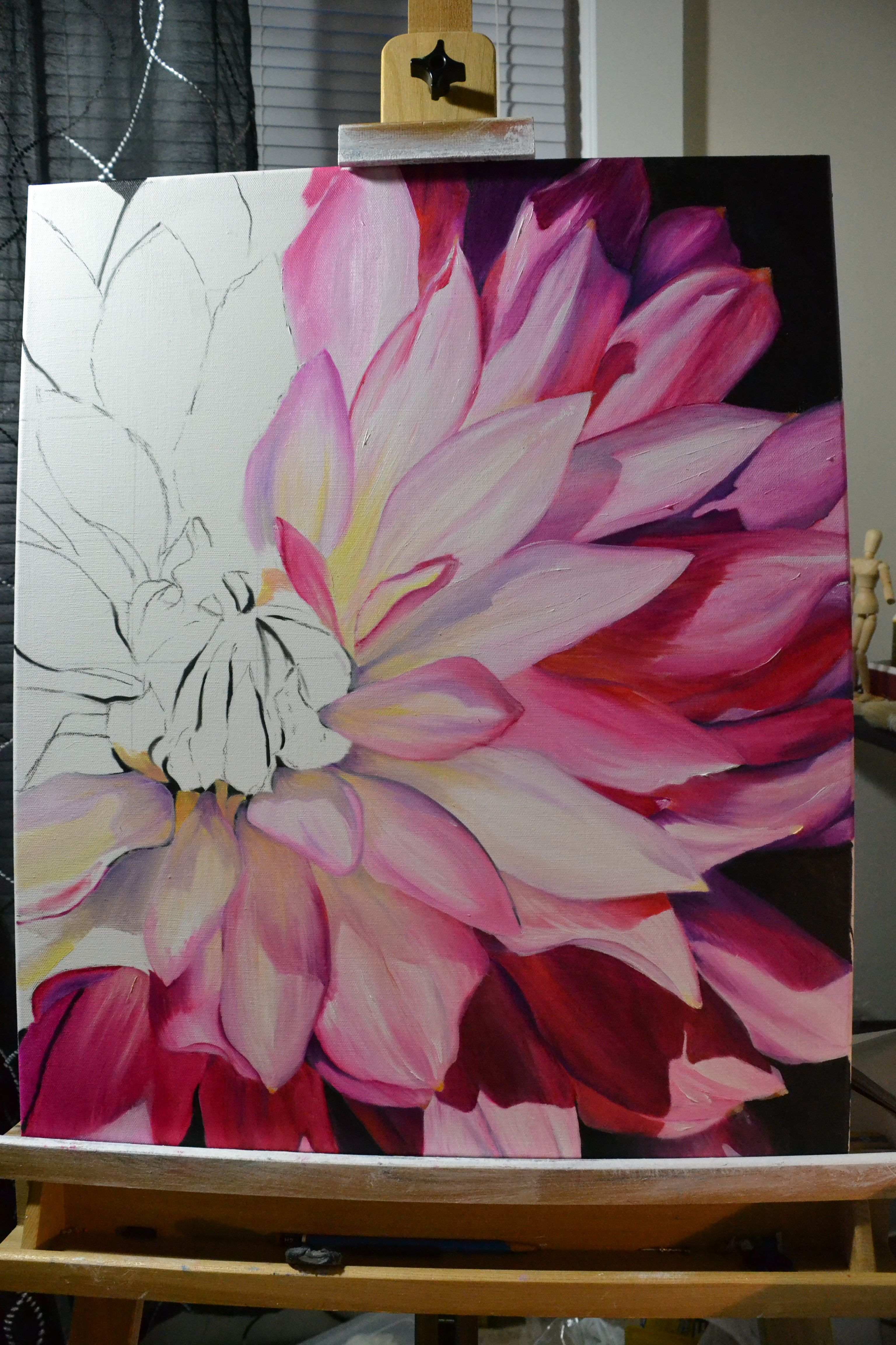 Dahlia half done, oil painting, pink and yellow, large