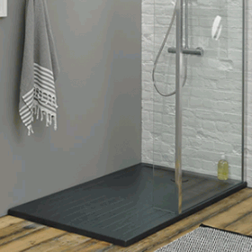 Updated Shower And Vanity Room Onyx Shower Base Tile From World Of Tile Delta Fixtures Custom Glass Restroom Remodel Shower Remodel Bathroom Remodel Shower
