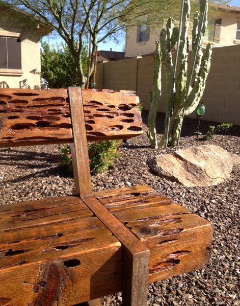 Muebles moderno rustico Banco de madera de cedro con acero | sillas ...
