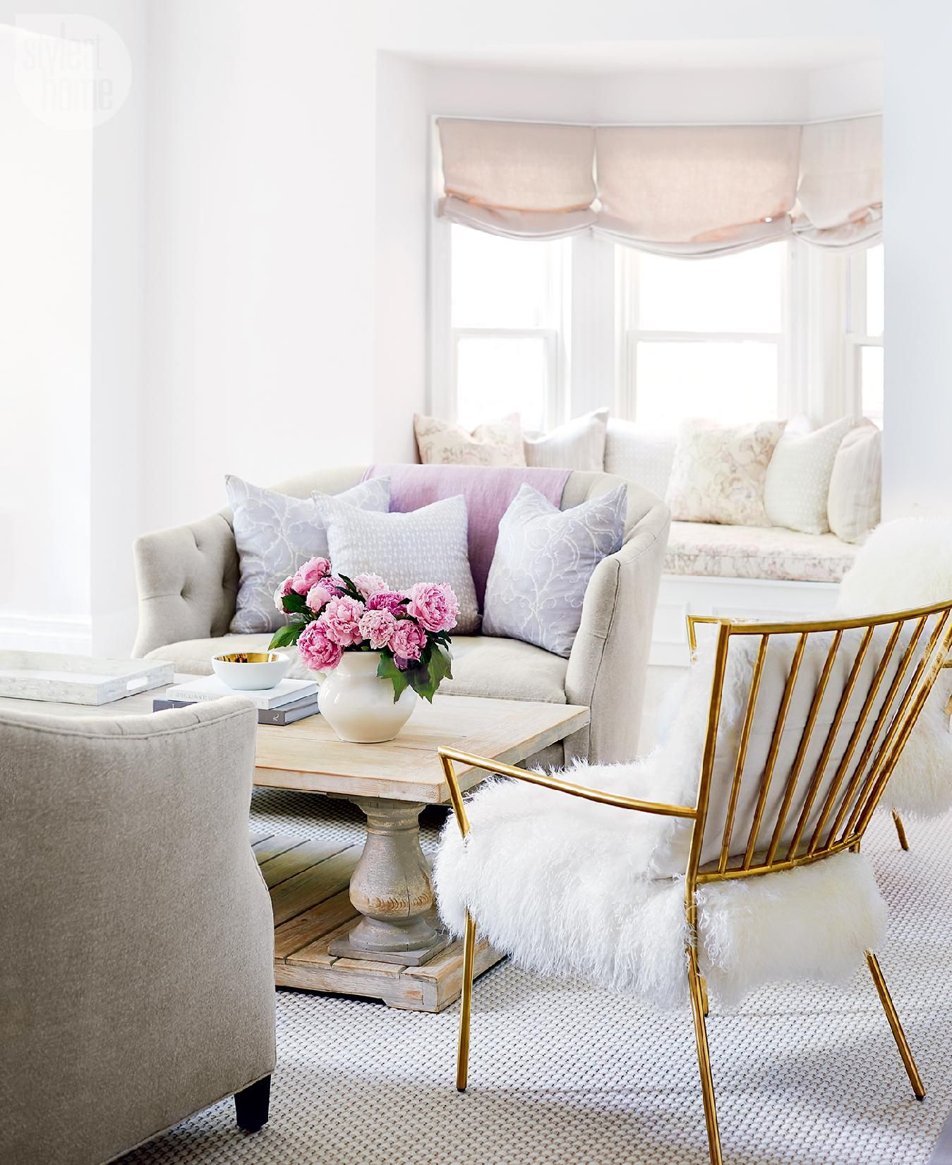 Budget Living Room Design Inspiration: Dilapidated Victorian Gets A Pretty-in-pink Makeover