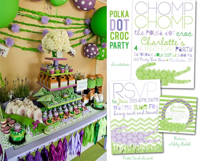 Polka Dot Crocodile Party + tons of other Children's Party Ideas!
