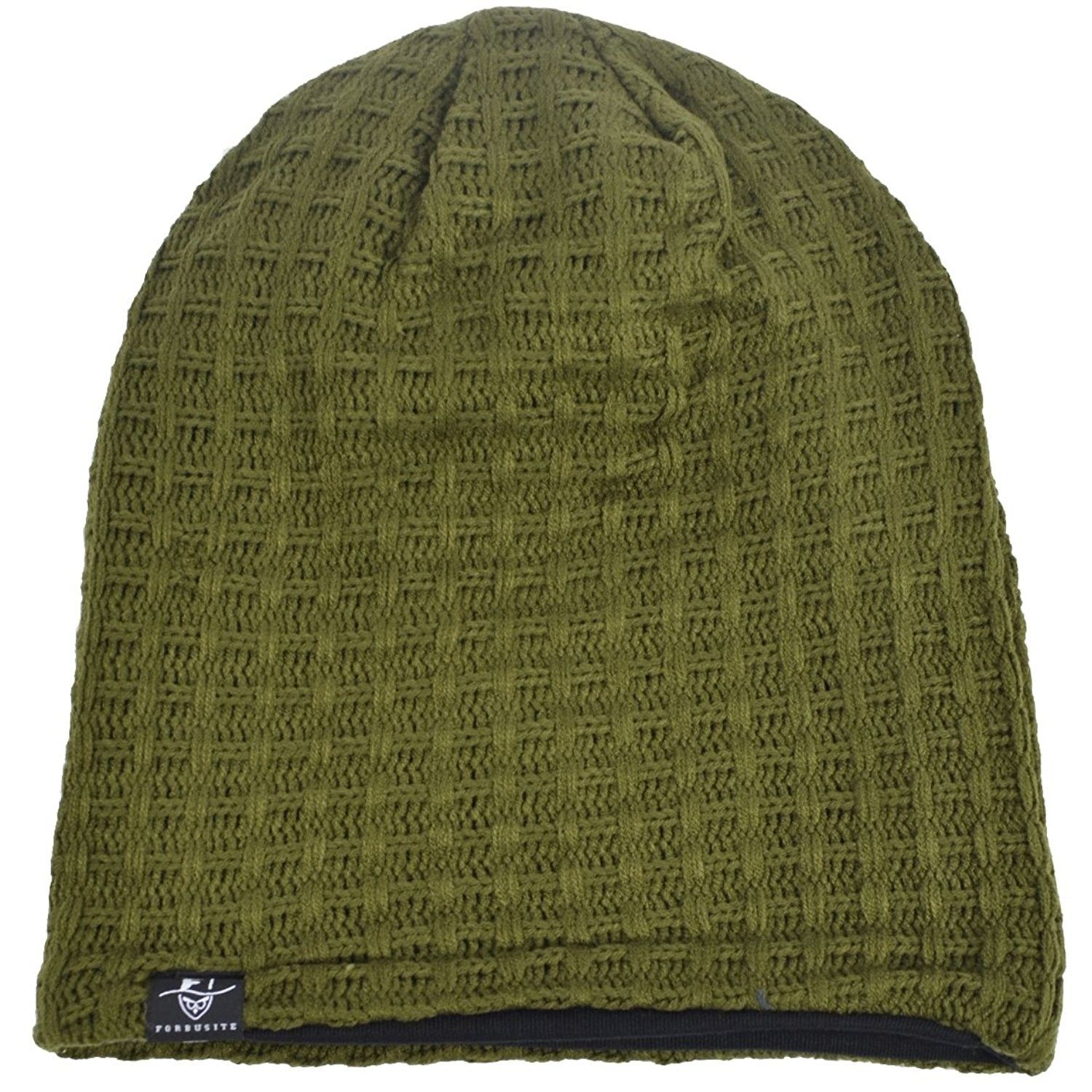 b38179b28e4 Men s Slouchy Beanie Oversize Summer Winter Skull Cap Hat B305 -  Plaid-green - CL187O5HNGW - Hats   Caps