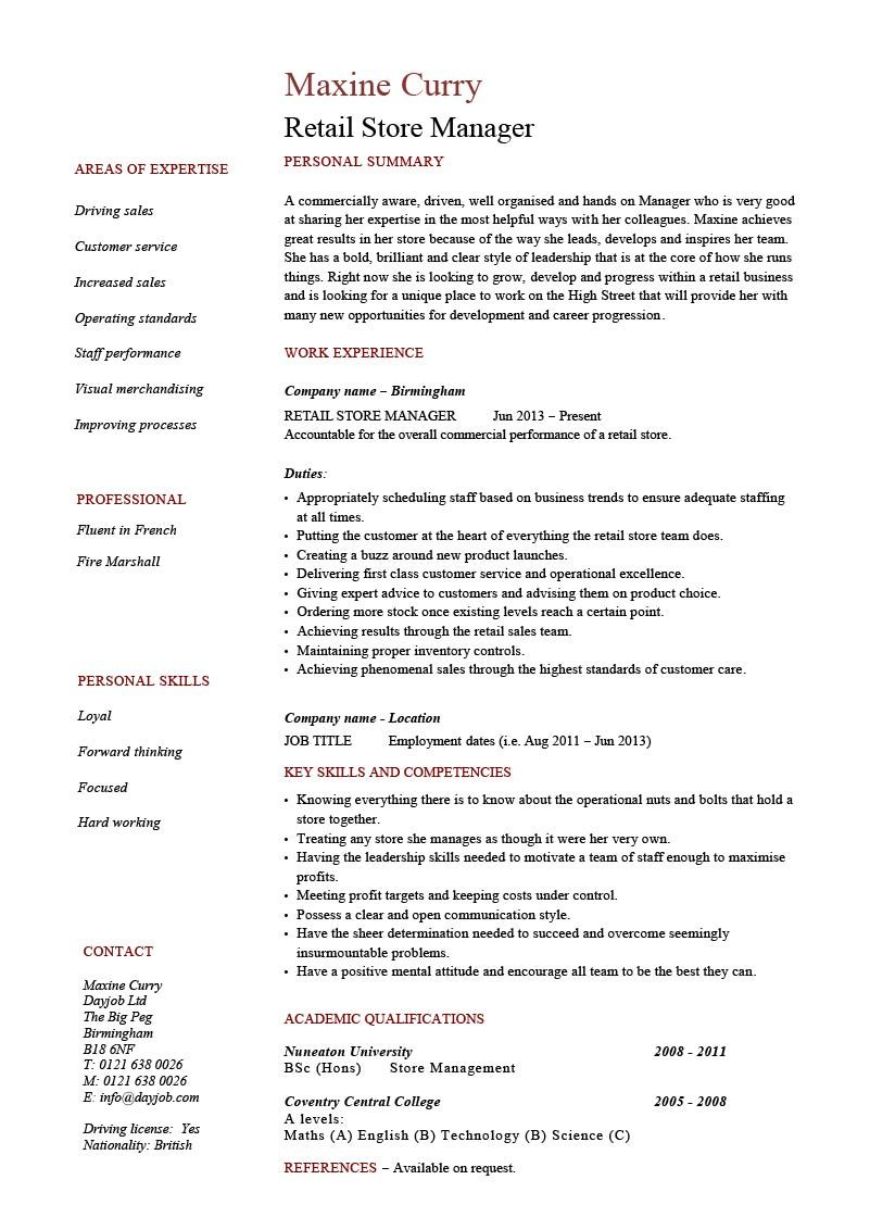 Retail Store Manager Resume Objective CV Templates Example Clothing Luxury You Can Get The Fully Editable Microsoft Word Version Of This Sample