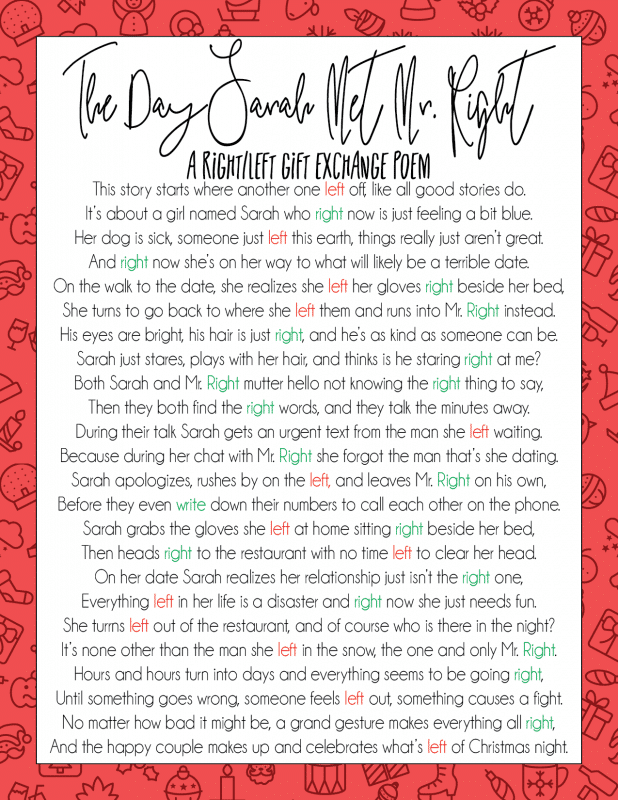 A Hilarious Left Right Christmas Poem & Gift Game - Play ...