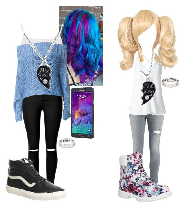"""""""Sisters"""" by bloody-angel2003 on Polyvore featuring Mode, Dondup, Timberland, Topshop, TIBI, Vans und Samsung"""