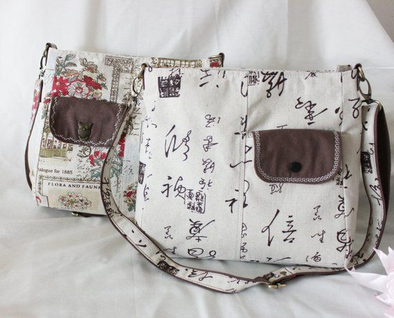 d6dca36fd56ba7 Handmade Handbag Linen fabric Message Bag Sling Bag Chinese characters  Flower B1801