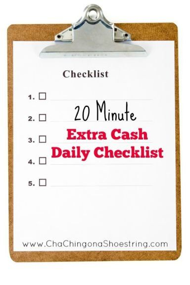 20 Minute Extra Cash Daily Checklist | Daily checklist, Earn extra ...