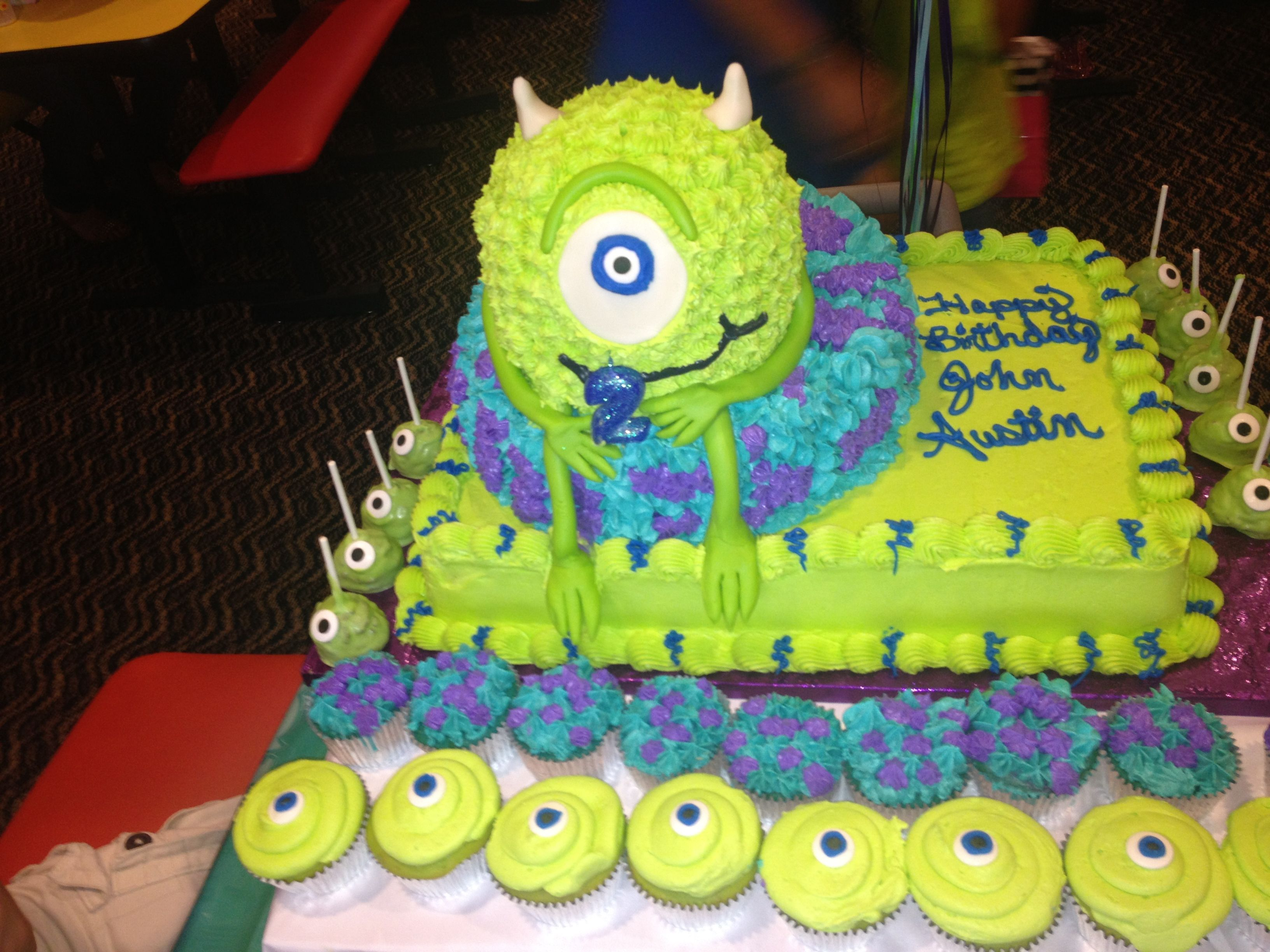 Monsters Inc delish cake! She did such a great job.