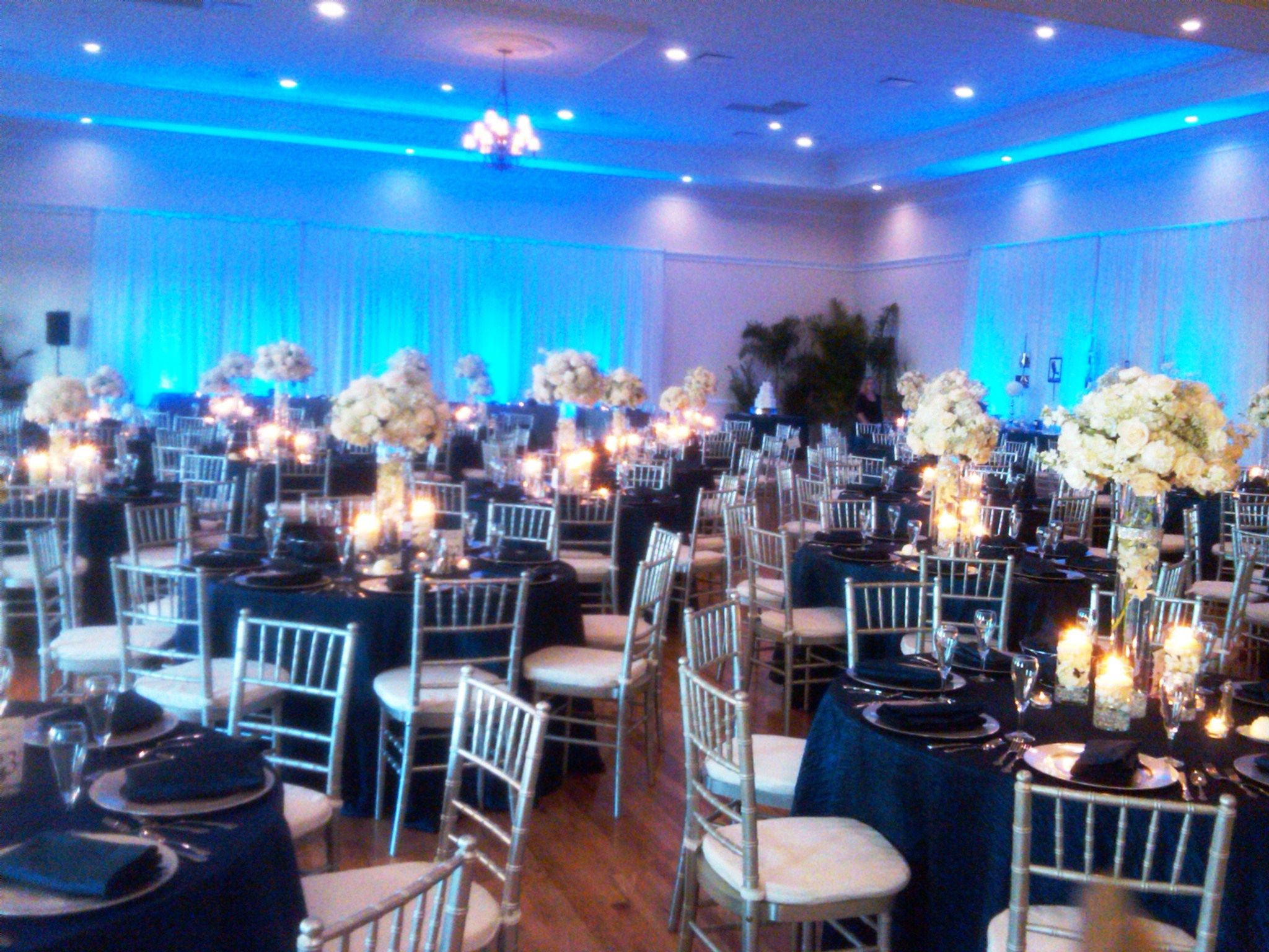 Blue Uplighting And Silver Chiavari S Wedding Ideas In