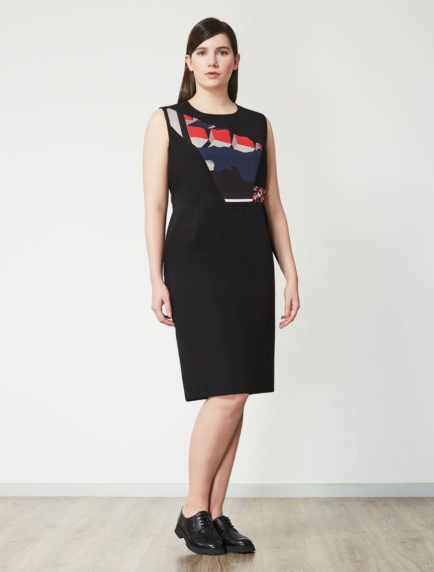 Marina rinaldi didatta nero abito tubino in crêpe de chine moda