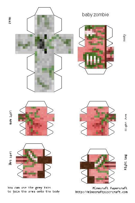 Papercraft Baby Zombie Pigman Paper Crafts Papercraft Minecraft Skin Minecraft Templates