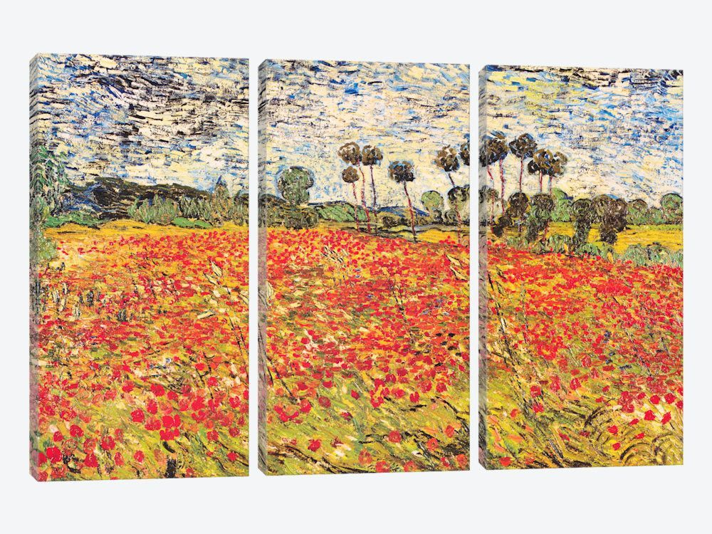 """Field of Poppies by Vincent van Gogh Canvas Print 60"""" L x 40"""" H x 0.75"""" D"""