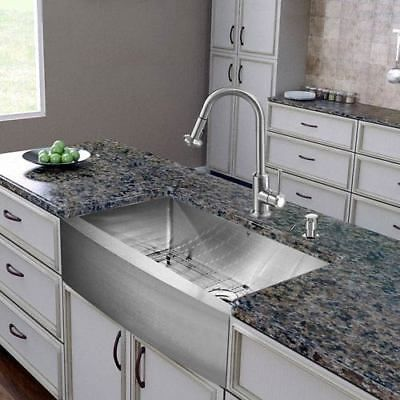 All In One 30 Inch Bedford Stainless Steel Farmhouse Kitchen Sink Set With Astor