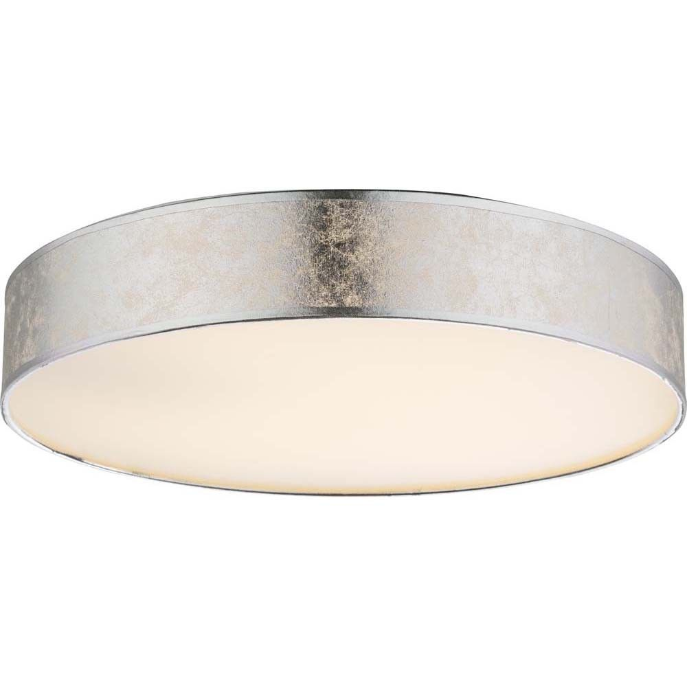 Design Led 12w Decken Lampe Textil Silber Metallic Wohn Ess Zimmer Leuchte Rund Lampdecke Beleuchtung Decke Led Lampe