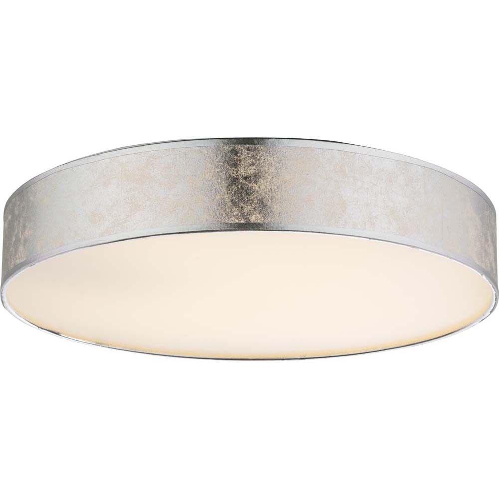 Design LED 12W Decken Lampe Textil silber metallic Wohn Ess