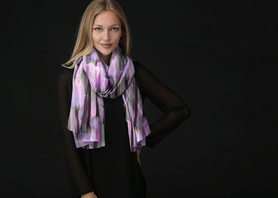 Cashmere Silk Scarf - White Pattern by VIDA VIDA