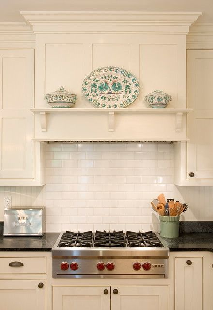 ductless range hood Kitchen Traditional with black counters black ...