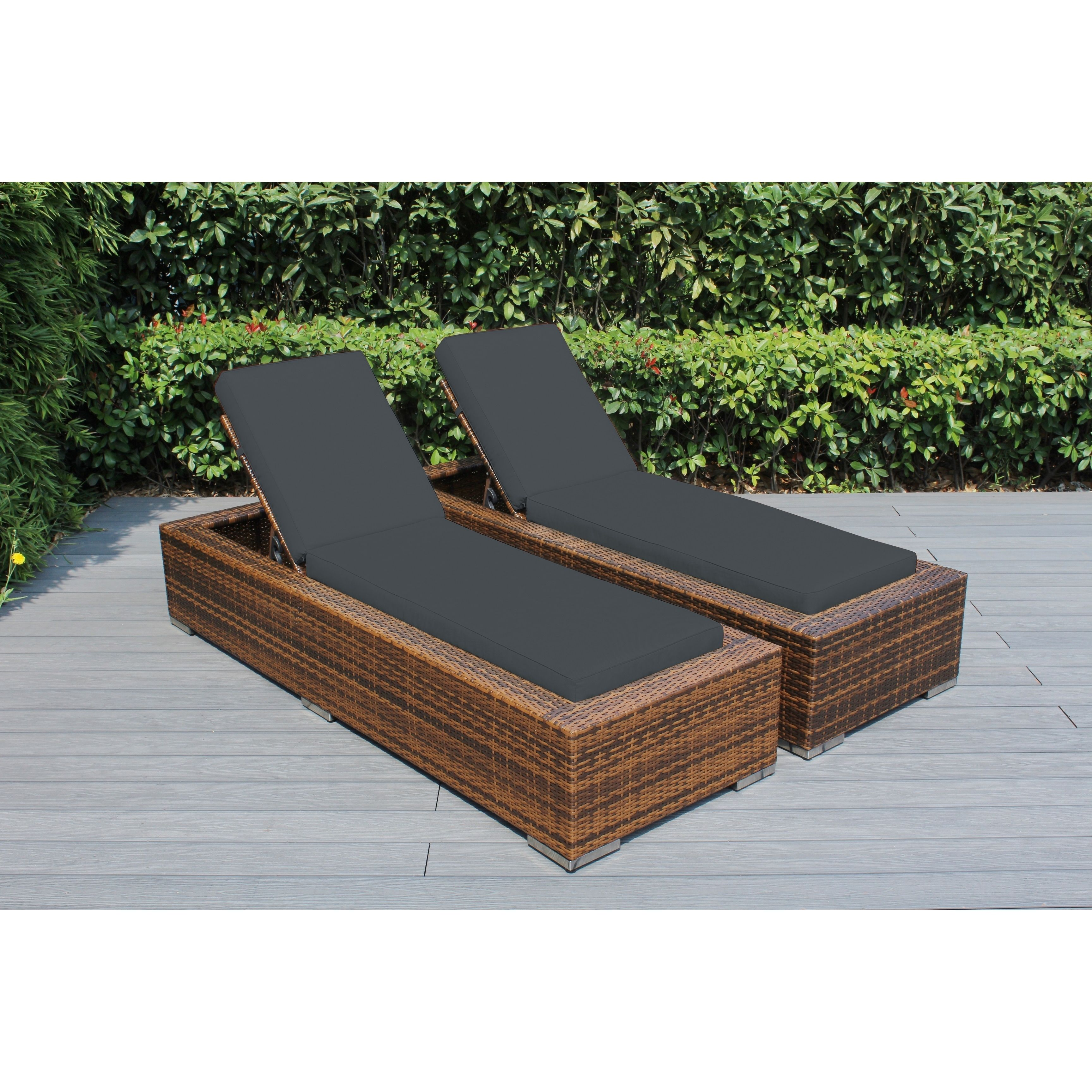 Ohana Outdoor Patio 2 Piece Mixed Brown Wicker Chaise Lounge Set